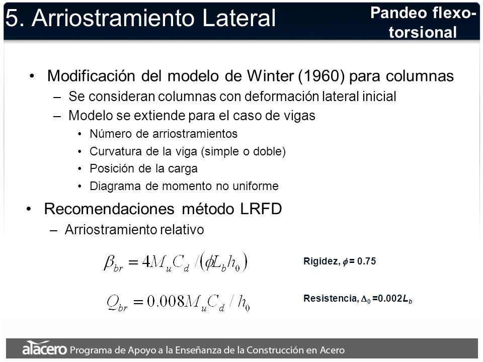 5. Arriostramiento Lateral Modificación del modelo de Winter (1960) para columnas –Se consideran columnas con deformación lateral inicial –Modelo se e