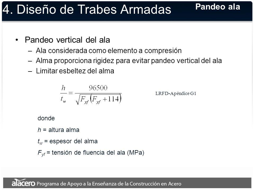 Pandeo vertical del ala –Ala considerada como elemento a compresión –Alma proporciona rigidez para evitar pandeo vertical del ala –Limitar esbeltez de