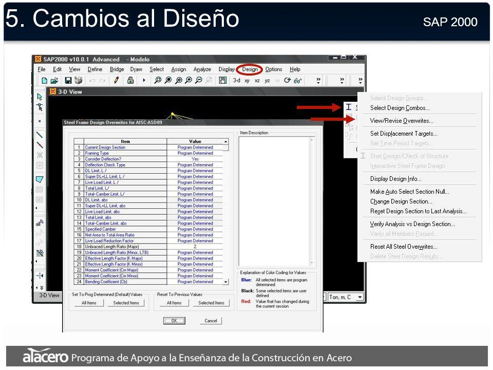 5. Combinaciones de Cargas SAP 2000