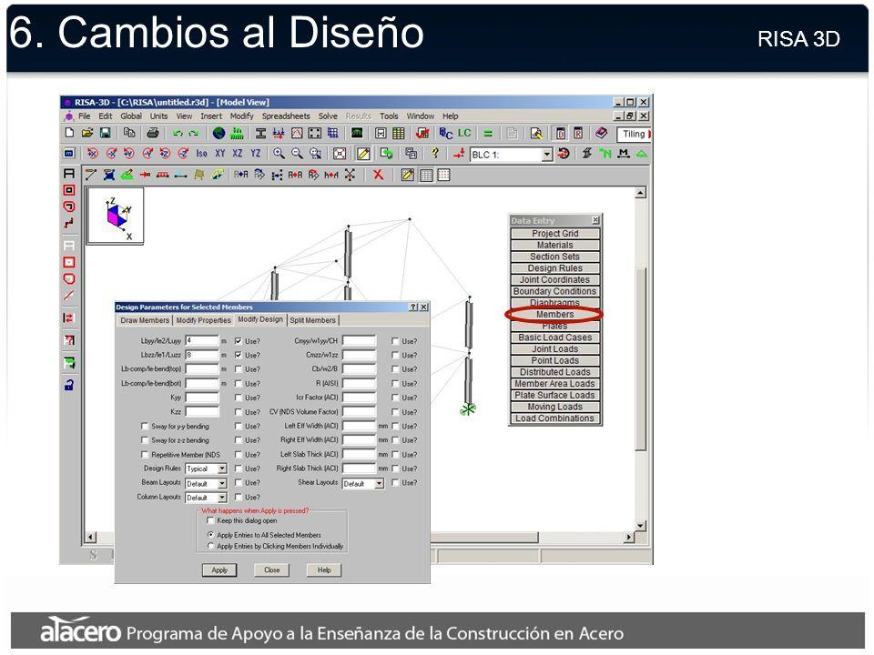 6. Combinaciones de Cargas RISA 3D