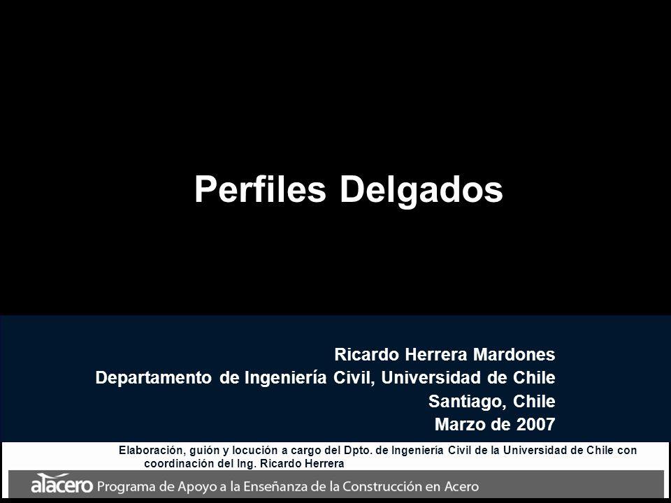 Perfiles Delgados Ricardo Herrera Mardones Departamento de Ingeniería Civil, Universidad de Chile Santiago, Chile Marzo de 2007 Elaboración, guión y l