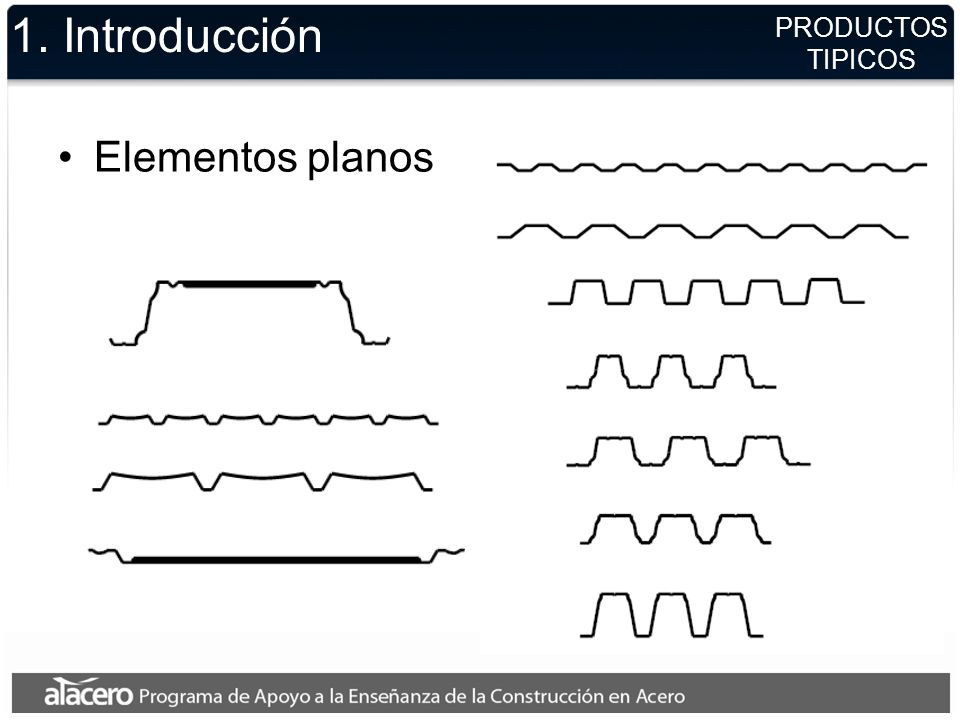 PRODUCTOS TIPICOS 1. Introducción Elementos planos