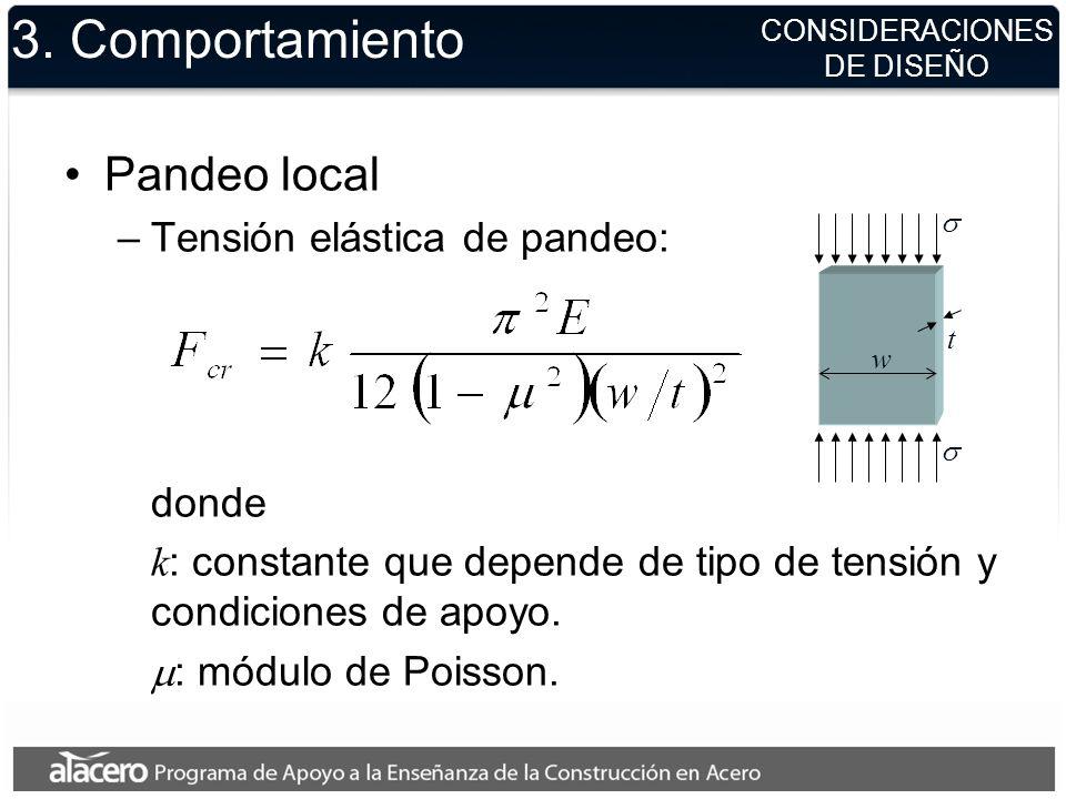 3. Comportamiento Pandeo local –Tensión elástica de pandeo: donde k : constante que depende de tipo de tensión y condiciones de apoyo. : módulo de Poi