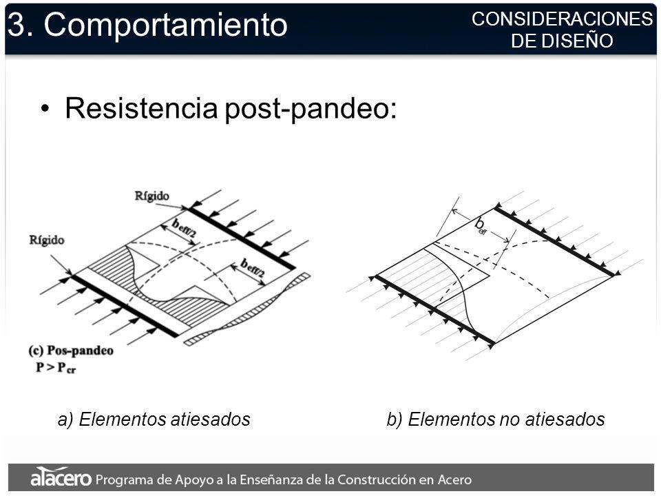 3. Comportamiento Resistencia post-pandeo: a) Elementos atiesadosb) Elementos no atiesados CONSIDERACIONES DE DISEÑO