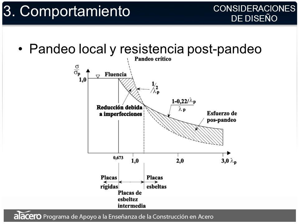 CONSIDERACIONES DE DISEÑO 3. Comportamiento Pandeo local y resistencia post-pandeo