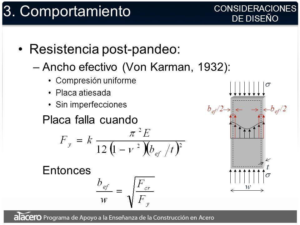 3. Comportamiento Resistencia post-pandeo: –Ancho efectivo (Von Karman, 1932): Compresión uniforme Placa atiesada Sin imperfecciones Placa falla cuand