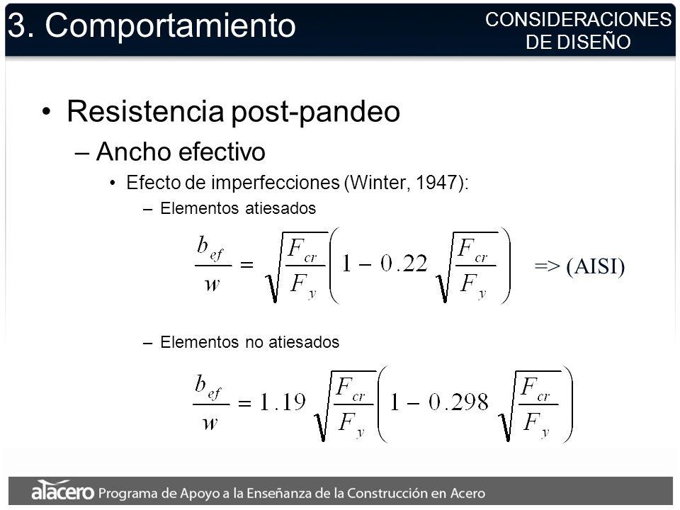 3. Comportamiento Resistencia post-pandeo –Ancho efectivo Efecto de imperfecciones (Winter, 1947): –Elementos atiesados –Elementos no atiesados => (AI