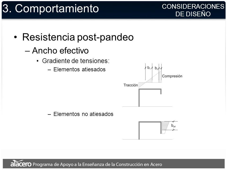 3. Comportamiento Resistencia post-pandeo –Ancho efectivo Gradiente de tensiones: –Elementos atiesados –Elementos no atiesados CONSIDERACIONES DE DISE