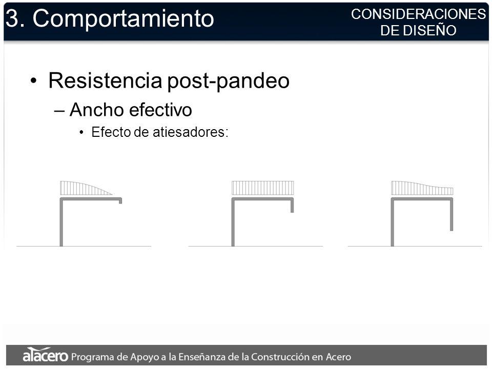 3. Comportamiento Resistencia post-pandeo –Ancho efectivo Efecto de atiesadores: CONSIDERACIONES DE DISEÑO