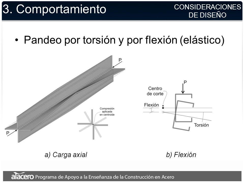 CONSIDERACIONES DE DISEÑO 3. Comportamiento Pandeo por torsión y por flexión (elástico) a) Carga axialb) Flexión