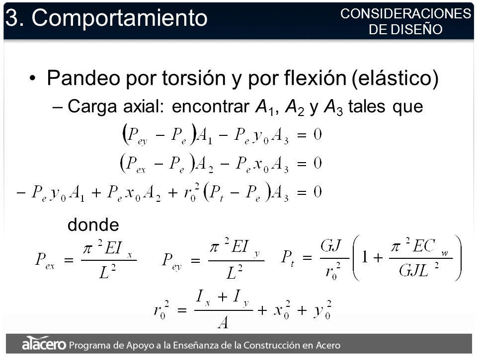 CONSIDERACIONES DE DISEÑO 3. Comportamiento Pandeo por torsión y por flexión (elástico) –Carga axial: encontrar A 1, A 2 y A 3 tales que donde