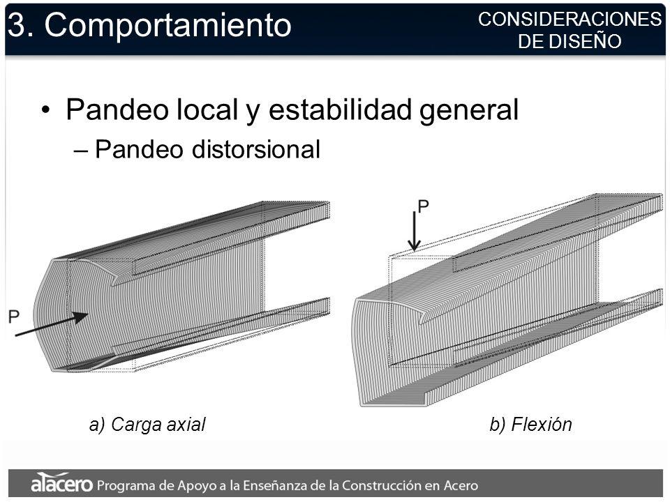 CONSIDERACIONES DE DISEÑO 3. Comportamiento Pandeo local y estabilidad general –Pandeo distorsional a) Carga axialb) Flexión