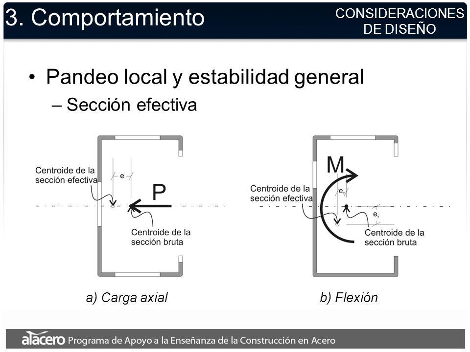 CONSIDERACIONES DE DISEÑO 3. Comportamiento Pandeo local y estabilidad general –Sección efectiva a) Carga axialb) Flexión