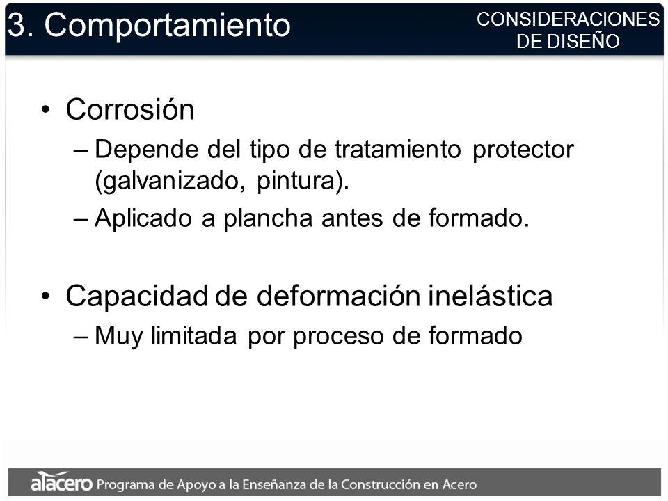 CONSIDERACIONES DE DISEÑO 3. Comportamiento Corrosión –Depende del tipo de tratamiento protector (galvanizado, pintura). –Aplicado a plancha antes de