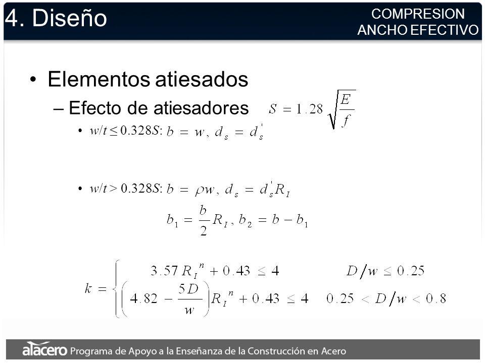 4. Diseño Elementos atiesados –Efecto de atiesadores w/t 0.328S: w/t > 0.328S: COMPRESION ANCHO EFECTIVO