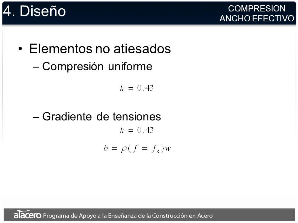 4. Diseño Elementos no atiesados –Compresión uniforme –Gradiente de tensiones COMPRESION ANCHO EFECTIVO