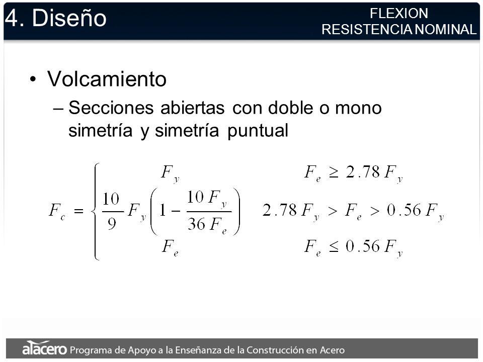 4. Diseño Volcamiento –Secciones abiertas con doble o mono simetría y simetría puntual FLEXION RESISTENCIA NOMINAL
