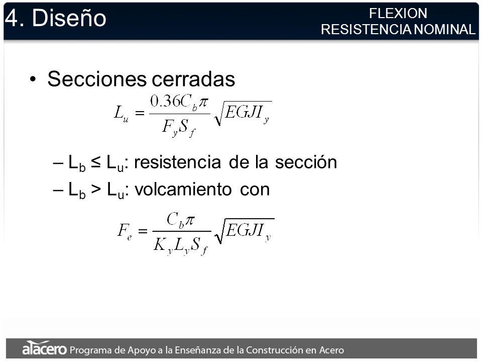 4. Diseño Secciones cerradas –L b L u : resistencia de la sección –L b > L u : volcamiento con FLEXION RESISTENCIA NOMINAL