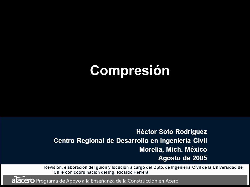 Compresión Héctor Soto Rodríguez Centro Regional de Desarrollo en Ingeniería Civil Morelia, Mich. México Agosto de 2005 Revisión, elaboración del guió