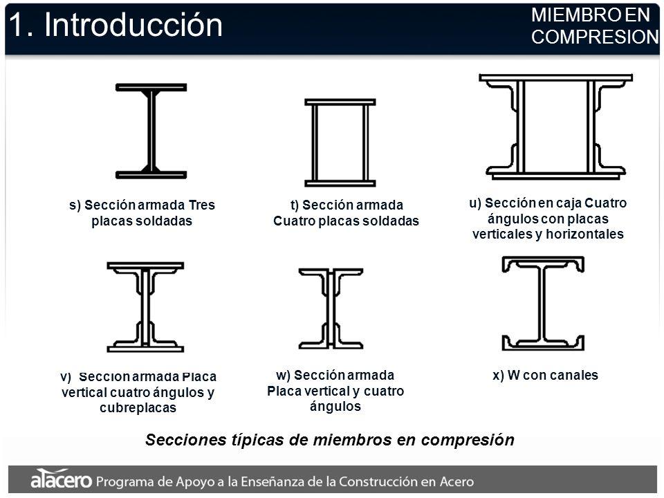 1. Introducción u) Sección en caja Cuatro ángulos con placas verticales y horizontales s) Sección armada Tres placas soldadas t) Sección armada Cuatro