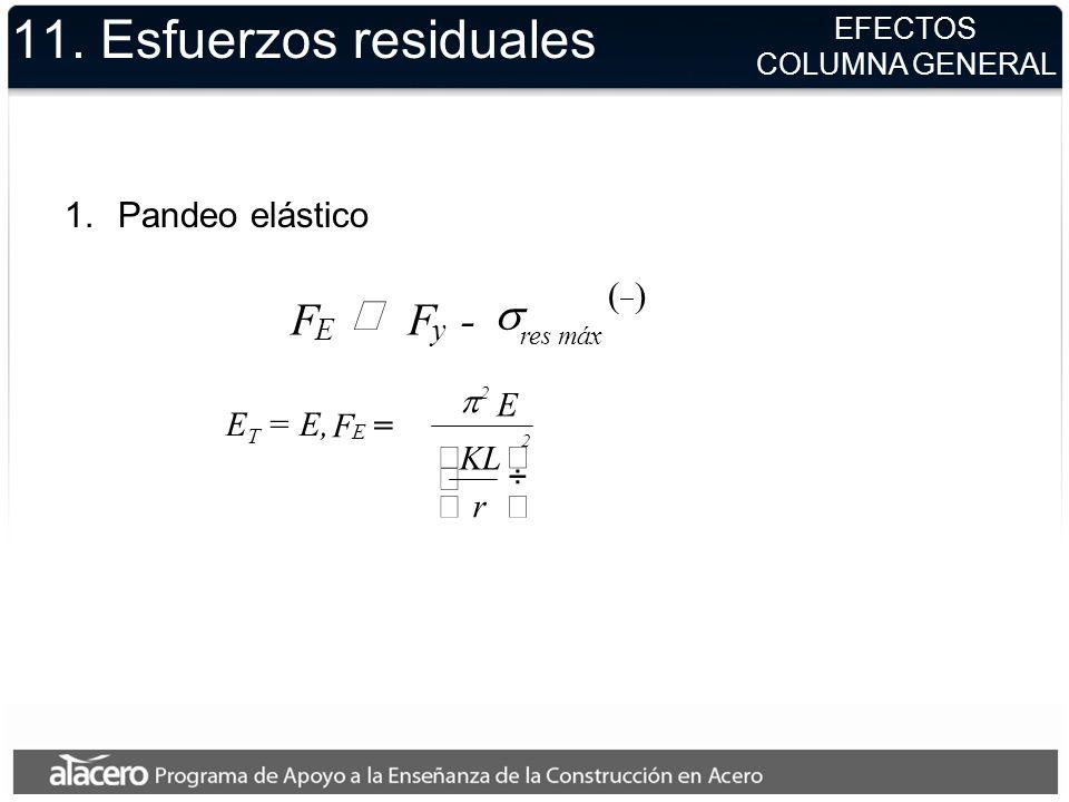 11. Esfuerzos residuales 1.Pandeo elástico EFECTOS COLUMNA GENERAL E T = E, F E = 2 2 r KL E F E F y - máx res