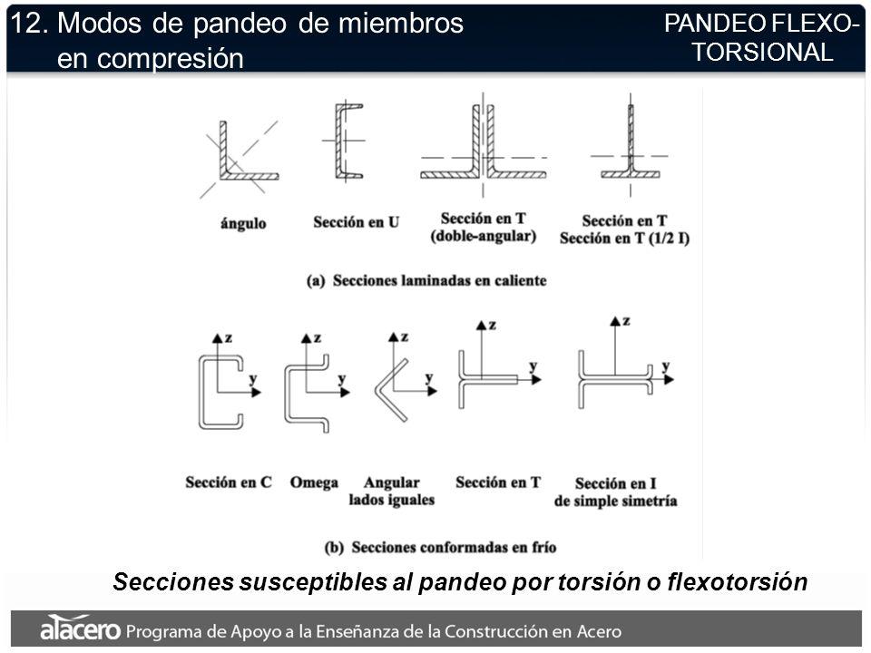 12. Modos de pandeo de miembros en compresión PANDEO FLEXO- TORSIONAL Secciones susceptibles al pandeo por torsión o flexotorsión