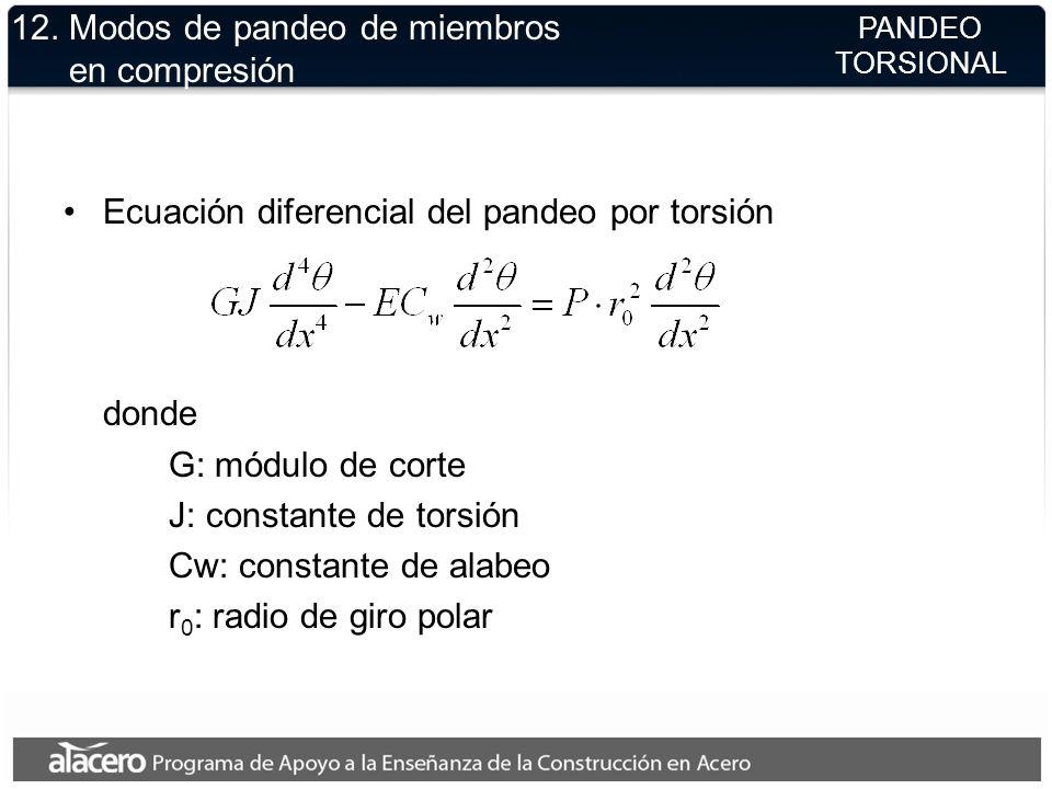 12. Modos de pandeo de miembros en compresión Ecuación diferencial del pandeo por torsión donde G: módulo de corte J: constante de torsión Cw: constan
