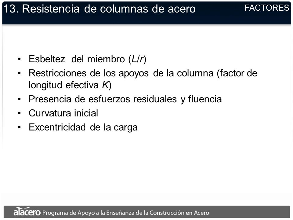 13. Resistencia de columnas de acero Esbeltez del miembro (L/r) Restricciones de los apoyos de la columna (factor de longitud efectiva K) Presencia de