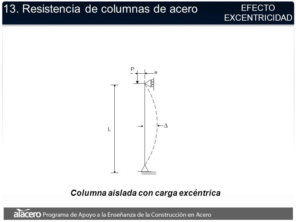 Columna aislada con carga excéntrica L P e 13. Resistencia de columnas de acero EFECTO EXCENTRICIDAD