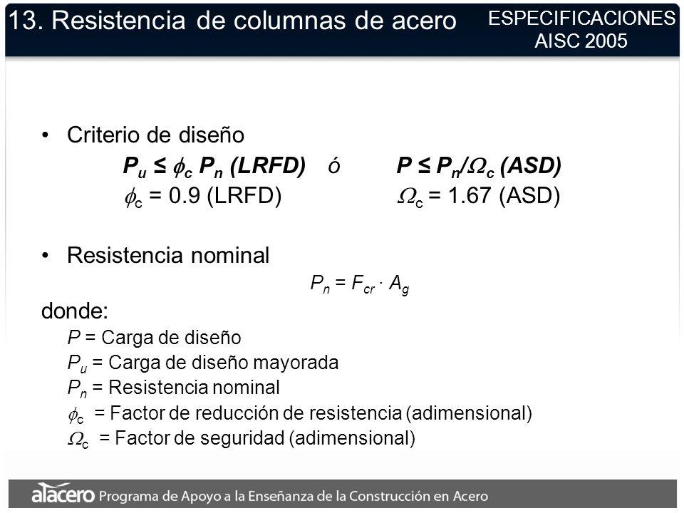 13. Resistencia de columnas de acero Criterio de diseño P u c P n (LRFD)óP P n / c (ASD) c = 0.9 (LRFD) c = 1.67 (ASD) Resistencia nominal P n = F cr
