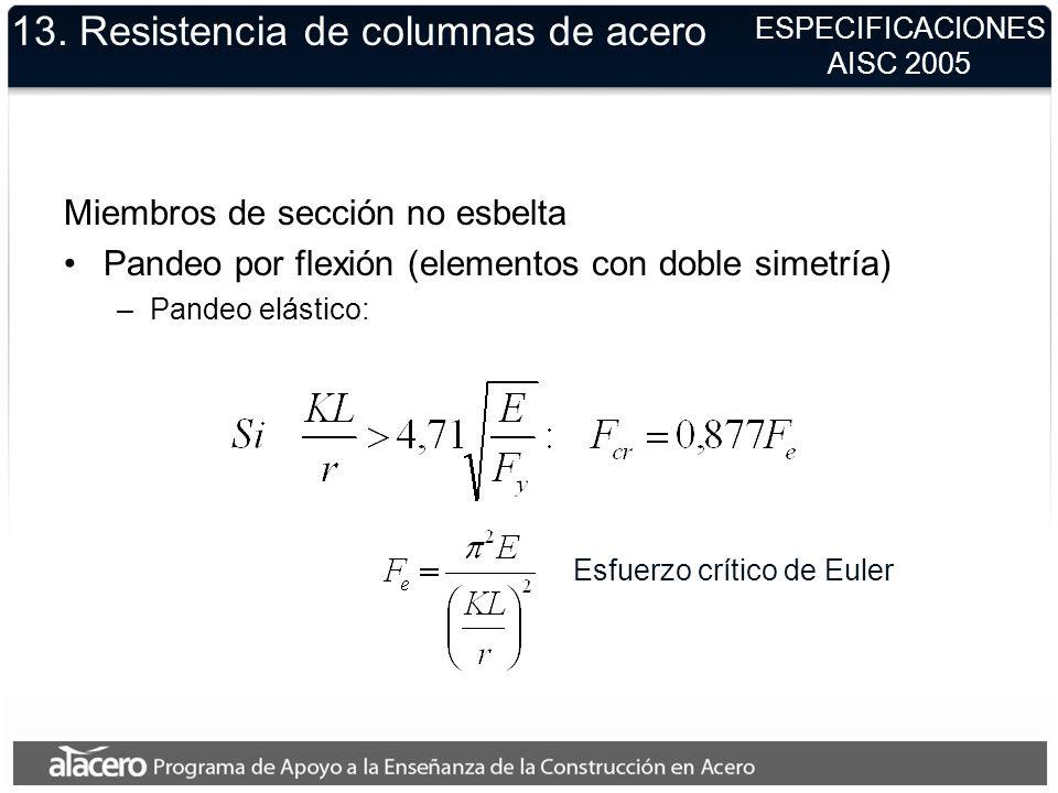13. Resistencia de columnas de acero Miembros de sección no esbelta Pandeo por flexión (elementos con doble simetría) –Pandeo elástico: ESPECIFICACION