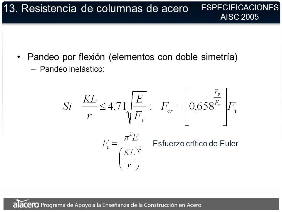 13. Resistencia de columnas de acero Pandeo por flexión (elementos con doble simetría) –Pandeo inelástico: ESPECIFICACIONES AISC 2005 Esfuerzo crítico