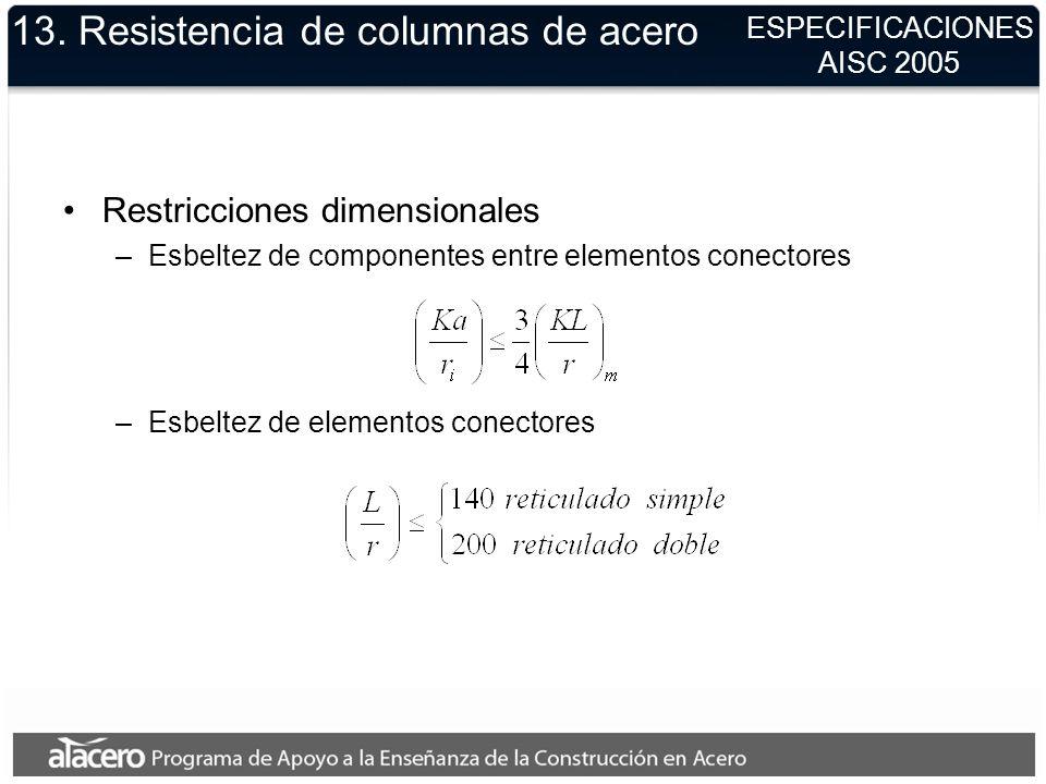 13. Resistencia de columnas de acero Restricciones dimensionales –Esbeltez de componentes entre elementos conectores –Esbeltez de elementos conectores