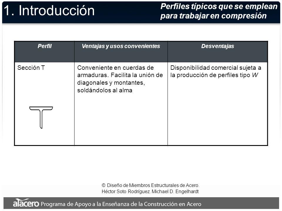 Perfiles típicos que se emplean para trabajar en compresión © Diseño de Miembros Estructurales de Acero. Héctor Soto Rodríguez. Michael D. Engelhardt