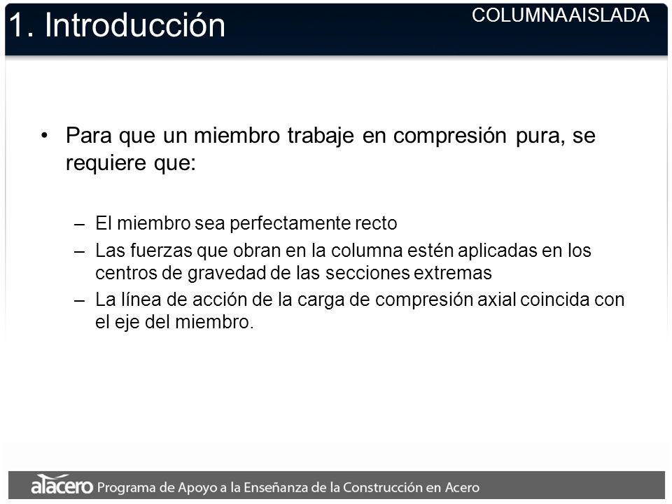 1. Introducción Para que un miembro trabaje en compresión pura, se requiere que: –El miembro sea perfectamente recto –Las fuerzas que obran en la colu
