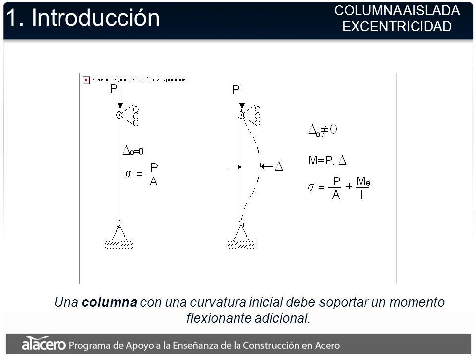Una columna con una curvatura inicial debe soportar un momento flexionante adicional. 1. Introducción COLUMNA AISLADA EXCENTRICIDAD