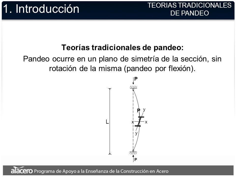 TEORIAS TRADICIONALES DE PANDEO 1. Introducción Teorías tradicionales de pandeo: Pandeo ocurre en un plano de simetría de la sección, sin rotación de