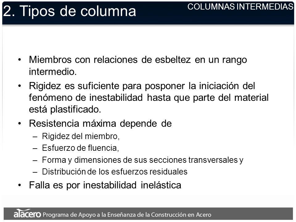 2. Tipos de columna Miembros con relaciones de esbeltez en un rango intermedio. Rigidez es suficiente para posponer la iniciación del fenómeno de ines