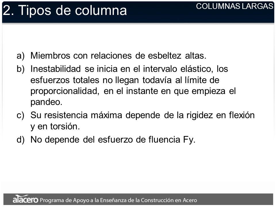 2. Tipos de columna a)Miembros con relaciones de esbeltez altas. b)Inestabilidad se inicia en el intervalo elástico, los esfuerzos totales no llegan t