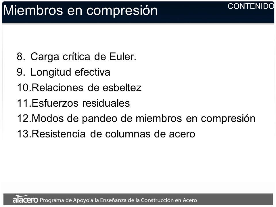 Miembros en compresión 8.Carga crítica de Euler. 9.Longitud efectiva 10.Relaciones de esbeltez 11.Esfuerzos residuales 12.Modos de pandeo de miembros