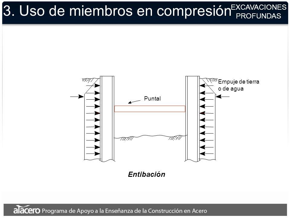 EXCAVACIONES PROFUNDAS Empuje de tierra o de agua Puntal 3. Uso de miembros en compresión Entibación