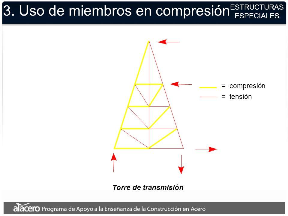 3. Uso de miembros en compresión ESTRUCTURAS ESPECIALES Torre de transmisión = compresión = tensión