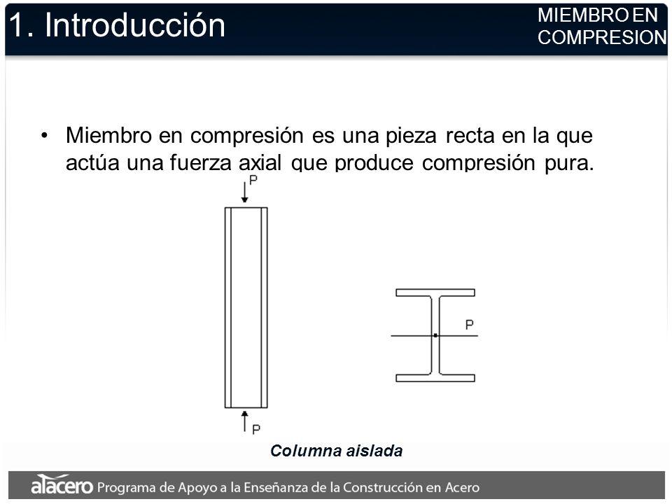 1. Introducción Miembro en compresión es una pieza recta en la que actúa una fuerza axial que produce compresión pura. Columna aislada MIEMBRO EN COMP