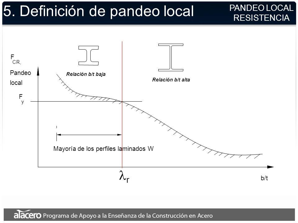 PANDEO LOCAL RESISTENCIA 5. Definición de pandeo local F CR, Pandeo local F y b/t Mayoría de los perfiles laminados W Relación b/t baja Relación b/t a