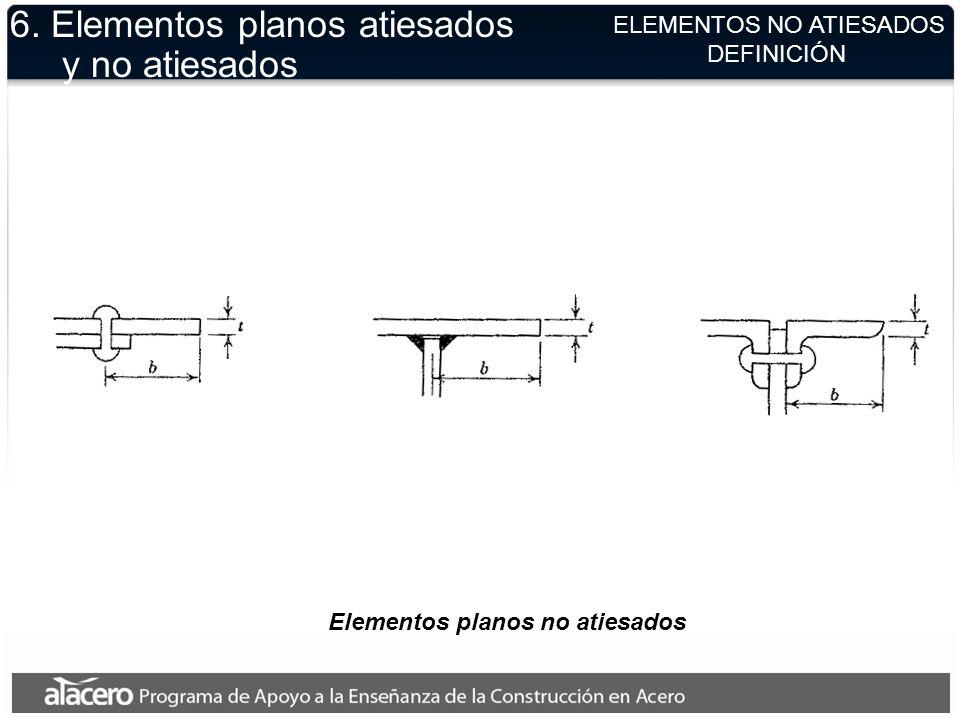 ELEMENTOS NO ATIESADOS DEFINICIÓN Elementos planos no atiesados 6. Elementos planos atiesados y no atiesados