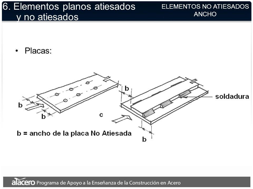 ELEMENTOS NO ATIESADOS ANCHO 6. Elementos planos atiesados y no atiesados Placas: