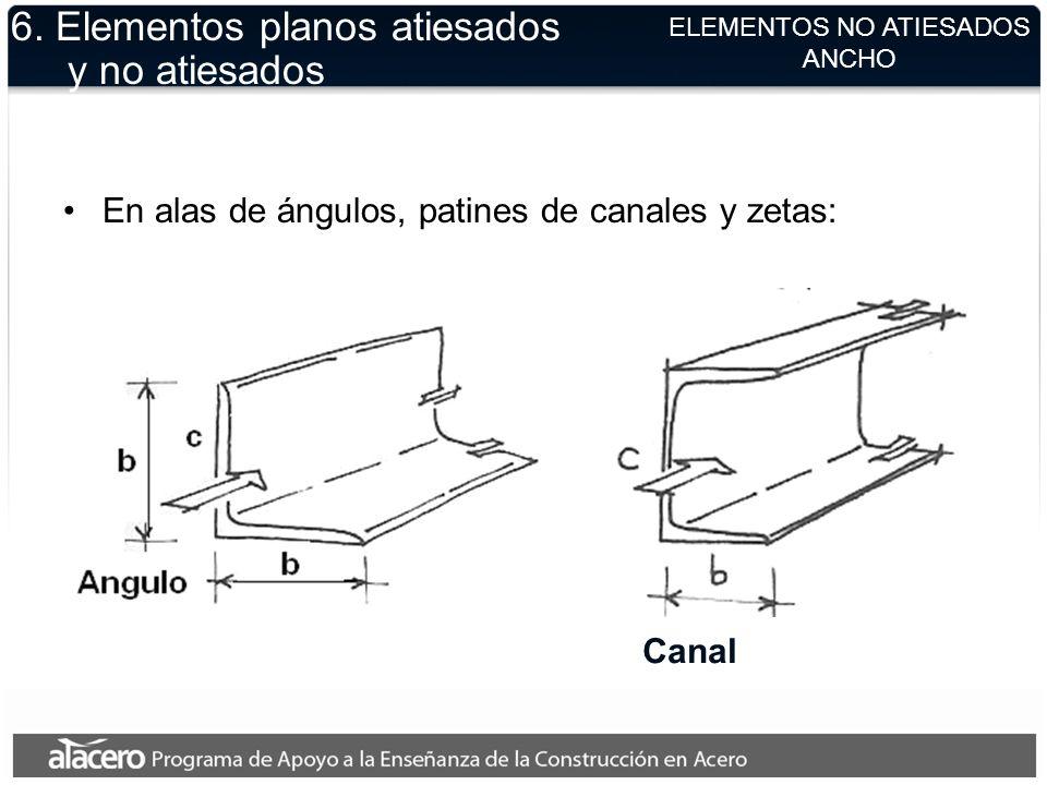 ELEMENTOS NO ATIESADOS ANCHO 6. Elementos planos atiesados y no atiesados En alas de ángulos, patines de canales y zetas: Canal