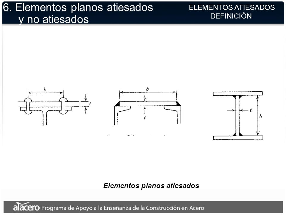 ELEMENTOS ATIESADOS DEFINICIÓN Elementos planos atiesados 6. Elementos planos atiesados y no atiesados