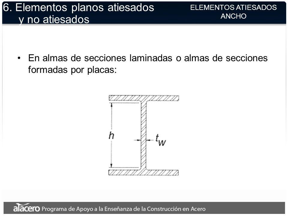 ELEMENTOS ATIESADOS ANCHO 6. Elementos planos atiesados y no atiesados En almas de secciones laminadas o almas de secciones formadas por placas: