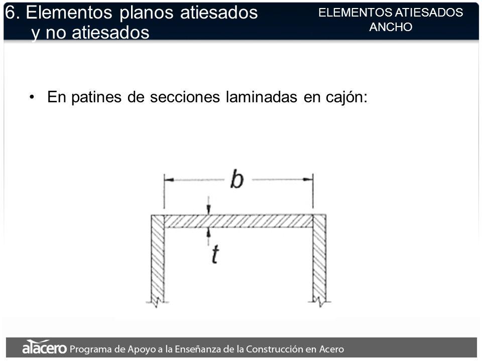 ELEMENTOS ATIESADOS ANCHO 6. Elementos planos atiesados y no atiesados En patines de secciones laminadas en cajón: